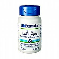 Life Extension ZINC LOZENGES Natural Citrus -Orange Flavor 18.75mg 60veg Loz.