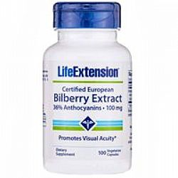 Life Extension CERTIFIED EUROPEAN BILBERRY EXTRACT 100mg 100 veg.caps