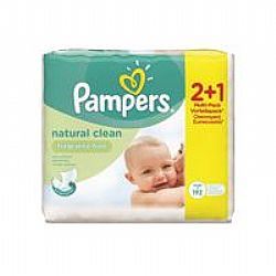 Pampers Natural Clean BABY WIPES Χωρίς 'Αρωμα 3x64τεμ (2X64τεμ & Δώρο 1x64τεμ)