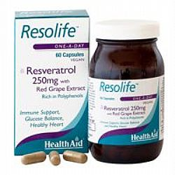 Health Aid Resolife 250mg veg.caps 60s